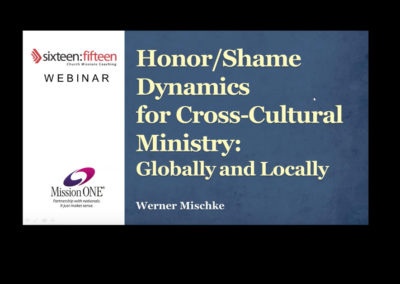 Honor and Shame Dynamics for Cross Cultural Ministry